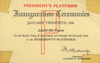 Image of the front of the 1941 Inauguration Ticket