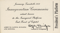 Image of the front of the 1953 Inauguration Ticket