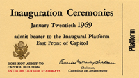 Image of the 1969 Inauguration Ticket