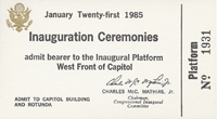 Image of the front of the 1985 Inauguration Ticket