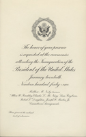 Image of the invitation for the 1941 Presidential Inauguration.