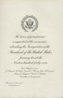 Image of the invitation for the 1949 Presidential Inauguration.
