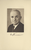 Image of the President from the invitation for the 1949 Presidential Inauguration.