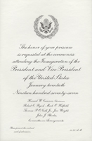 Image of the invitation for the 1977 Presidential Inauguration.
