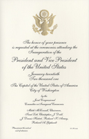 Image of the invitation for the 2001 Presidential Inauguration.