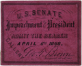 Image: Ticket, 1868 Impeachment Trial, United States Senate Chamber (Cat. no. 16.00037.001)