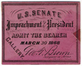 Image: Ticket, 1868 Impeachment Trial, United States Senate Chamber (Cat. no. 16.00063.000)