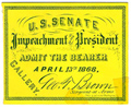 Image: Ticket, 1868 Impeachment Trial, United States Senate Chamber (Cat. no. 16.00071.001)