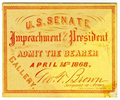 Image: Ticket, 1868 Impeachment Trial, United States Senate Chamber (Cat. no. 16.00072.001)