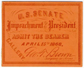 Image: Ticket, 1868 Impeachment Trial, United States Senate Chamber (Cat. no. 16.00073.001)