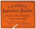 Image: Ticket, 1868 Impeachment Trial, United States Senate Chamber (Cat. no. 16.00074.001)