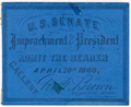 Image: Ticket, 1868 Impeachment Trial, United States Senate Chamber (Cat. no. 16.00076.001)