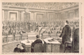 Formal Notice of the Impeachment of Andrew Johnson, by the House Committee, Thaddeus Stevens and John A. Bingham, at the Bar of the Senate, Washington, D.C. on the 25th Feb.