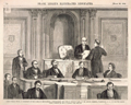 Chief Justice Chase, as President of the Court of Impeachment, Administering the Oath to Senator Wade, in the Senate Chamber, Washington, D.C., on the 6th March.