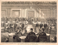 The House Committee of Impeachment Managers in the Senate Chamber, Washington, D. C., on the 4th Inst.—John A. Bingham, Chairman, Reading the Articles of Impeachment.
