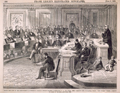 "Taking the Vote on the Impeachment of President Johnson, Senate Chamber, Washington, D.C., May 16th, 1868.—Senator Ross, of Kansas, Voting ""Not Guilty."""