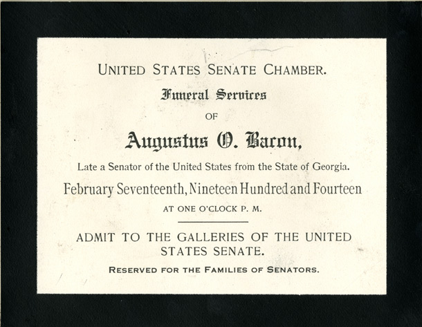 Image: Ticket, 1914 Augustus O. Bacon Funeral (Cat. no. 11.00004.00a)