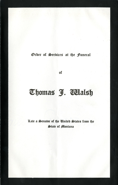Image:  Order of Services, 1933 Thomas J. Walsh Funeral (Cat. no. 11.00004.00e)