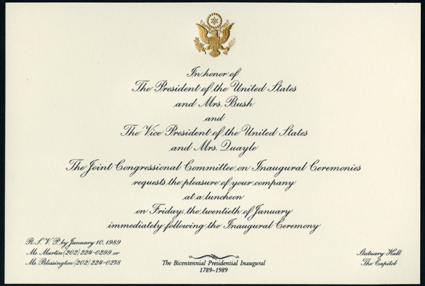 Image of the invitation for the 1989 Presidential Inauguration Luncheon.