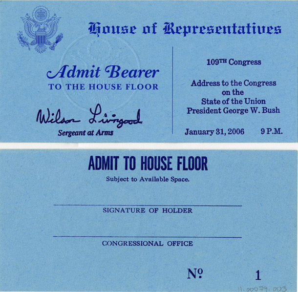 Image: Ticket, Joint Session to Hear the State of the Union Address by the President of the United States, 109th Congress(Cat. no. 11.00079.003)