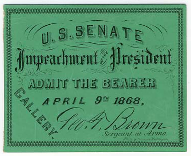 Image: Ticket, 1868 Impeachment Trial, United States Senate Chamber (Cat. no. 16.00068.000)