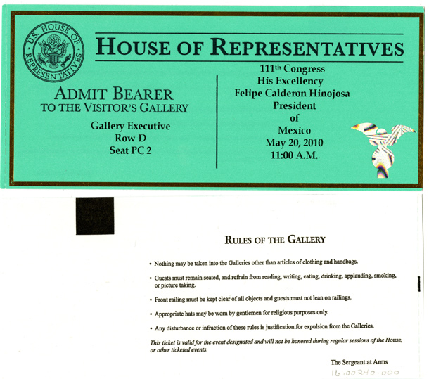 Image: Ticket, Joint Session to Hear His Excellency Felipe Calderon Hinojosa, President of Mexico, 111th Congress(Cat. no. 16.00240.000)