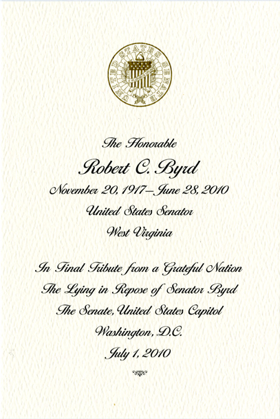 Image: Condolence Card, The Lying in Repose of Senator Byrd, July 1, 2010 (Cat. no. 16.00241.000)