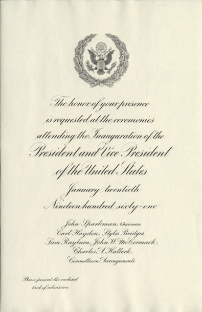 Image of the invitation for the 1961 Presidential Inauguration.