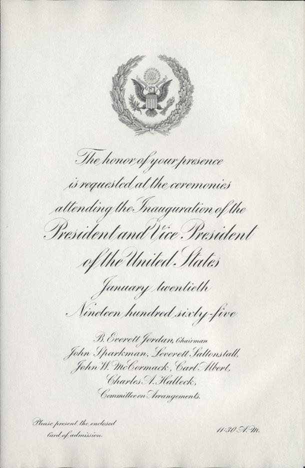 Us senate 1965 inauguration invitation 1965 inauguration invitation stopboris Gallery