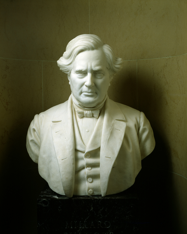 Millard Fillmore was the last Whig president; the party nominated a candidate in 1856, but was dead completely by 1860.  Bust of Vice President Millard Fillmore, by Robert Cushing, U.S. Senate Chamber -