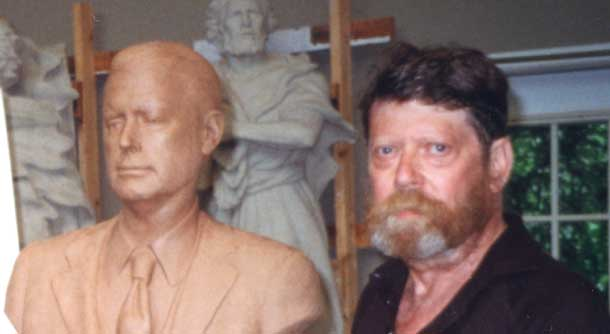 Artist Frederick Hart with the clay model of the Quayle bust, July 28, 1999.