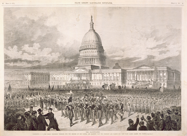 The Inauguration. / washington, d. c.—the grand procession wheeling into the grounds of the capitol and marching past the president and cabinet—the west point cadets passing the portico.