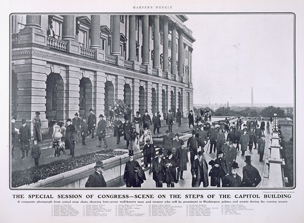 The Special Session of Congress—Scene on the Steps of the Capitol Building