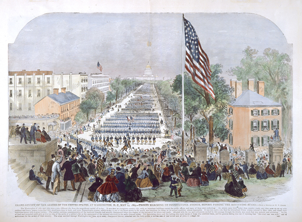 Grand Review of the Armies of the United States, at Washington, D.C., May 23, 1865.—Troops Marching Up Pennsylvania Avenue, Before Passing the Reviewing Stand.