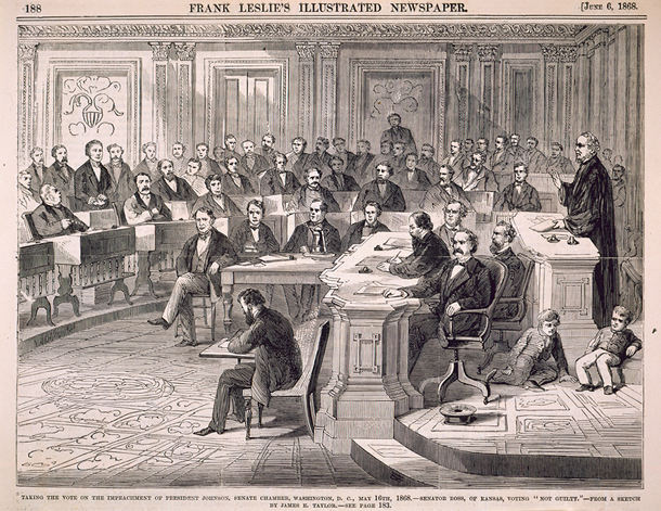 a look at the infamous impeachment of president andrew johnson in 1868 /tiles/non-collection/i/i_origins_impeach_stevens_lcxml collection of the us house of representatives about this object representative thaddeus stevens of pennsylvania, a radical republican, gave the last speech during house debate on articles of impeachment against president andrew johnson on march 2, 1868.