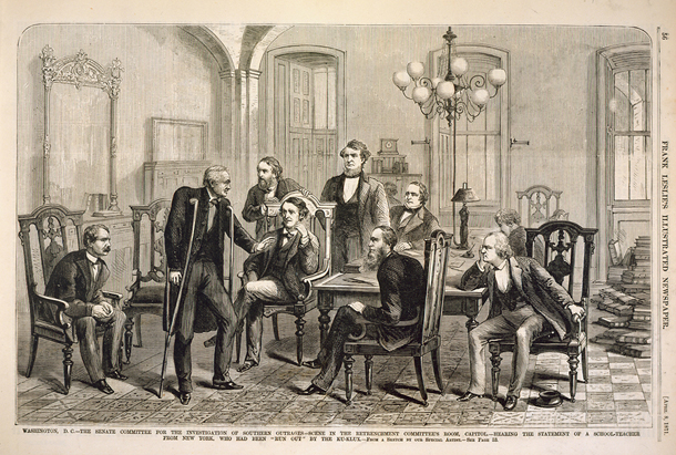 "Washington, D.C.—The Senate Committee for the Investigation of Southern Outrages—Scene in the Retrenchment Committee's Room, Capitol.—Hearing the Statement of a School-Teacher from New York, Who Had Been ""Run Out"" by the Ku-Klux."
