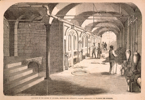 Basement of the Houses of Congress, Showing the Extensive Heating Apparatus for Warming the Building.