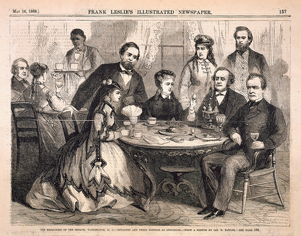 The Refectory of the Senate, Washington, D. C.—Senators and Their Friends at Luncheon.