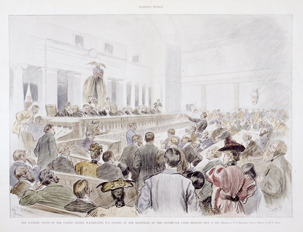 The Supreme Court of the United States, Washington, D.C.—Scenes at the Reopening of the Income-Tax Cases, Monday, May 6, 1895.