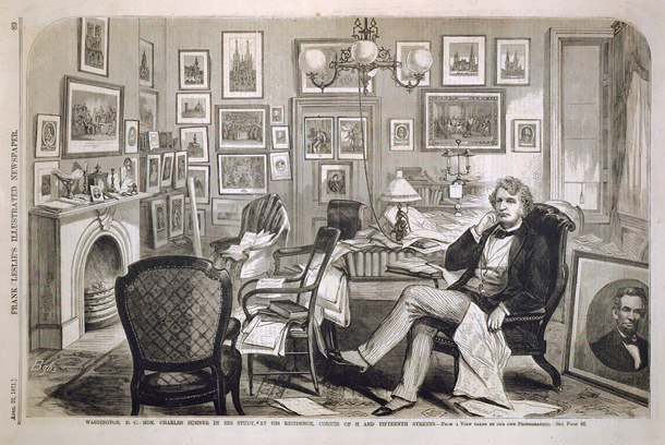 Washington, D. C.—Hon. Charles Sumner in His Study, at His Residence, Corner of H and Fifteenth Streets.