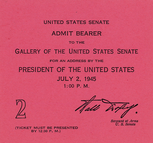 Image of the front of the 1945 Inauguration Ticket