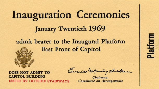 Image of the front of the 1969 Inauguration Ticket