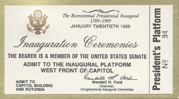 Image of the front of the 1989 Inauguration Ticket