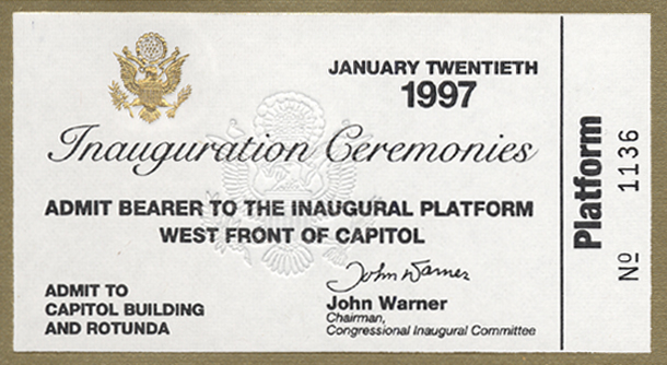Image of the front of the 1997 Inauguration Ticket