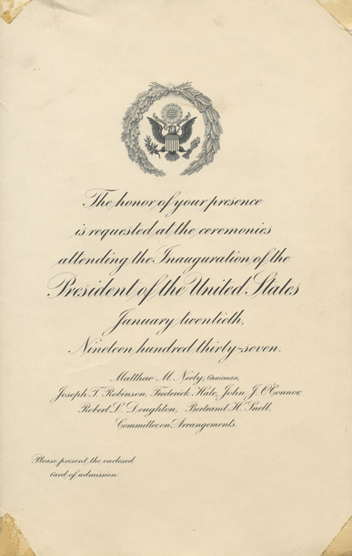 Image of the invitation for the 1937 Presidential Inauguration.