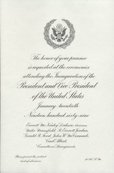 Image of the invitation for the 1969 Presidential Inauguration.