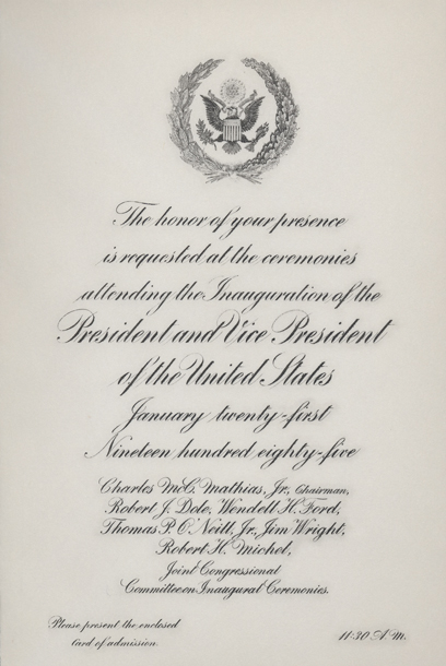 Image of the invitation for the 1985 Presidential Inauguration.