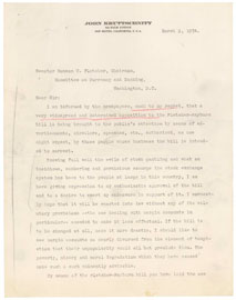 Letter from J. Kruttsnitt to Senator Fletcher. March 9, 1934.