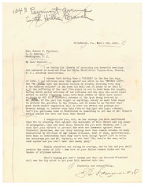 Letter from Mr. Lammert to Senator Fletcher. April 2, 1934.