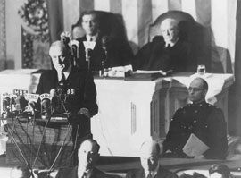 Photo of President Franklin D. Roosevelt delivering the 'Day of Infamy' speech.